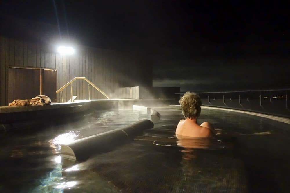 Soaking in a Japanese onsen